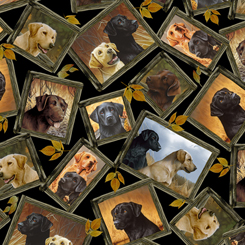 Loyal, Loveable Labs TOSSED LABRADOR PATCHES BLACK