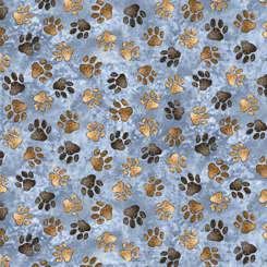 Quilting Treasures Loyal, Loveable Labs PAW PRINTS BLUE