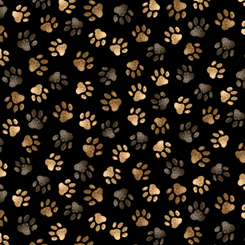 Quilting Treasures Loyal, Loveable Labs PAW PRINTS BLACK