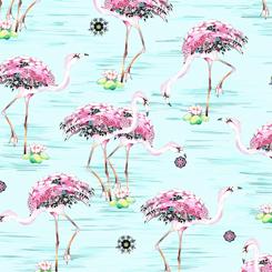 Fancy Flamingos - Flamingos on Light Aqua