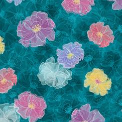 Rachel - Tossed Floral<br>27325-Q - Dark Turquoise