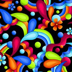 016542087270 black bright floral