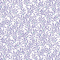 Violet Ferns on White:  Violet by Donna Robertson of Fabric Cafe for Quilting Treasures