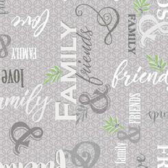 QT Fabrics - Circle of Friends - Family and Friends Text - 1649 27367 K - Grey