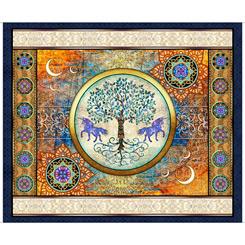 Quitlting Treasures-Mystical UNICORN PANEL NAVY 36 Panel