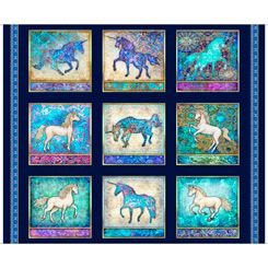 Quilting Treasures Mystical UNICORN PICTURE PATCHES Panel 36x42 27376-N NAVY