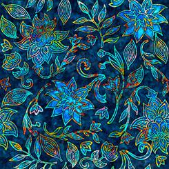 QT Fabrics Kashmir LARGE FLORAL NAVY