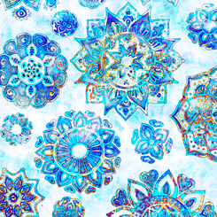 QT Fabrics, Kashmir, Mandala's, Blue