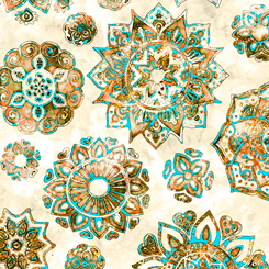 Quilting Treasures Kashmir 27399-E MANDALAS CREAM