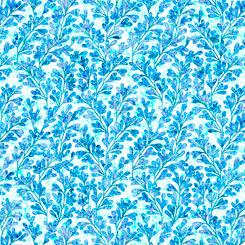Quilting Treasures Kashmir 27402-B LEAVES BLUE