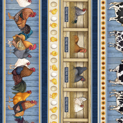 Quilting Treasures Sunrise Farms 27416-B FARM CHARACTER STRIPE CHAMBRAY