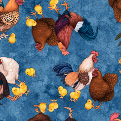Quilting Treasures Sunrise Farms 27418-B CHICKEN TOSS DENIM