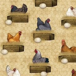 Fabric-QT Sunrise Farms Hens Nesting Tan