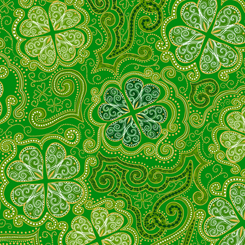 Quilting Treasures Lucky Clovers 27424-G DECORATIVE CLOVERS GREEN