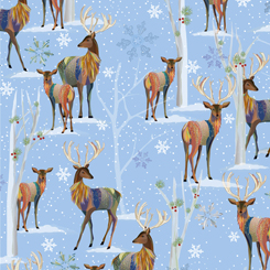 First Frost - Deer Scenic - Blue - 27436-B