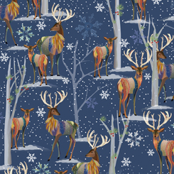 Stylized Deer on Navy Blue with Blue and White Snowflakes:  First Frost Deer by Turnowsky for Quilting Treasures