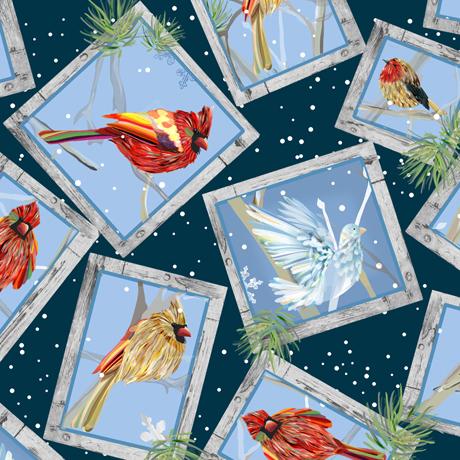 First Frost - Birds FRAMED WINTER BIRDS NAVY 27438-N