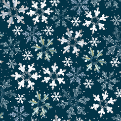 First Frost - Birds SNOWFLAKES NAVY 27439-N