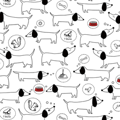 Hot Diggity Dogs SKETCHED DOGS WHITE