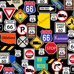 this & that ii route 66 road signs black