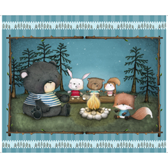 Campfire Friends 27459-Q Panel Turquoise