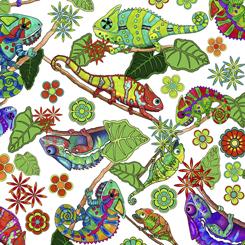 Color Me Chameleon TOSSED CHAMELEONS WHITE