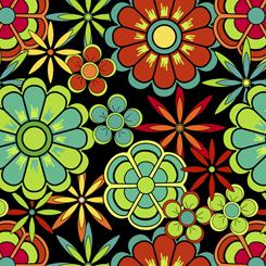 Color Me Chameleon FLOWERS BLACK- FA-27491-J