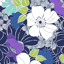 Lexi Large Floral -  navy background