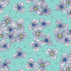 Lexi Spaced Floral-Lt. Aqua background