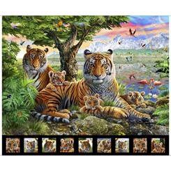 QT Fabrics-Artworks X TIGER PANEL MULTI 1649-27518-X
