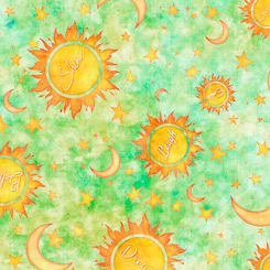 Dream Big-Sun Moon Stars-LT GREEN