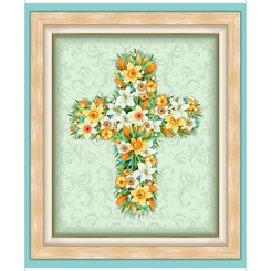 Easter Parade FLORAL CROSS PANEL MULTI 27578 X