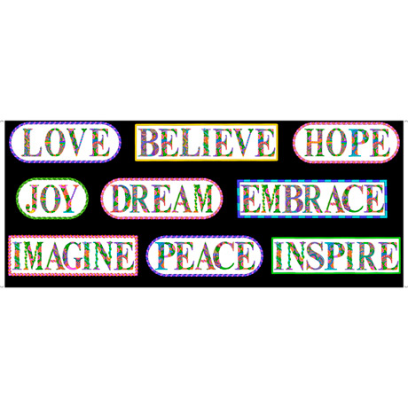 Alpha Doodle INSPIRATIONAL WORDS PANEL BLACK