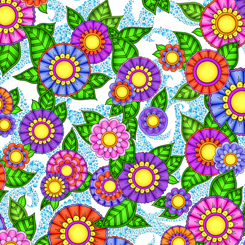 SPECIALTY FABRICS:  Pink, Purple, Blue and Orange Flowers on White:  Alpha Doodle by Debi Payne for Quilting Treasures