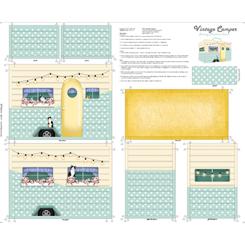 Sew & Go VINTAGE CAMPER SEWING MACHINE COVER PANEL AQUA