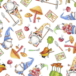 Quilting Treasures Gnomesville 27664-ZGNOMES & VEGGIE TOSS WHITE