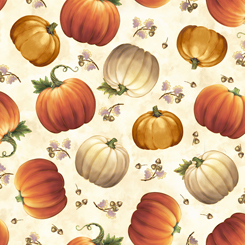 Quilting Treasures Harvest Elegance 27670-E TOSSED PUMPKINS CREAM