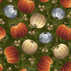 Fabric-QT Harvest Elegance Tossed Pumpkins