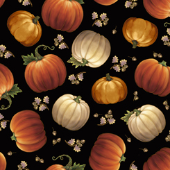 Quilting Treasures Harvest Elegance 27670-J TOSSED PUMPKINS BLACK