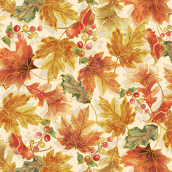 Quilting Treasures Harvest Elegance 27671-E LEAVES CREAM