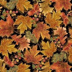 QT Fabrics - Harvest Elegance LEAVES BLACK 27671-J