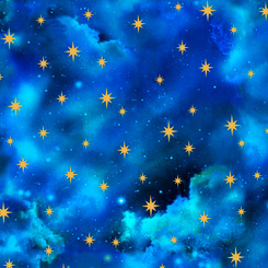 SPECIALTY FABRIC:  Starry Sky on Royal Blue:  In The Beginning - Genesis 1 by Cindy Sepp for Quilting Treasures