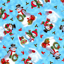 Snowmen tossed on Blue, Frosty Friends by Quilting Treasures Fabrics