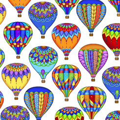 Balloon Festival Packed Hot Air Balloons on White 1649 27686Z