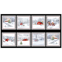 Back Home For The Holidays CHRISTMAS WINTER SCENIC PICTURE PATCHES BLACK