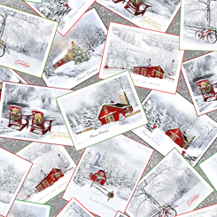 Back Home For The Holidays CHRISTMAS WINTER SCENIC POSTCARDS GRAY