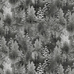 Back Home For The Holidays TONAL PINE TREES CHARCOAL