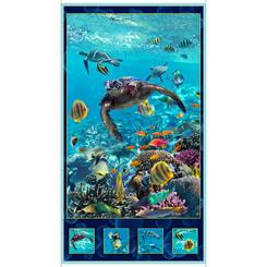 Panel- OCEAN PARADISE Artworks Xvi TURTLE PANEL TURQUOISE