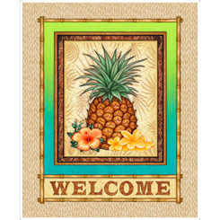 Postcards From Paradise 27725-A Pineapple Welcome Panel