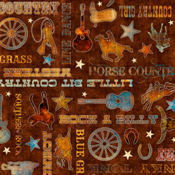 Quilting Treasures Lil' Bit Country 27741-A COUNTRY PHRASES BROWN